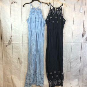 Old Navy maxi sundresses light & navy blue Sz M
